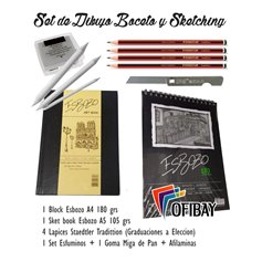 Set Boceto N-3 - Esbozo Sketch Book Lapices Goma Esfuminos